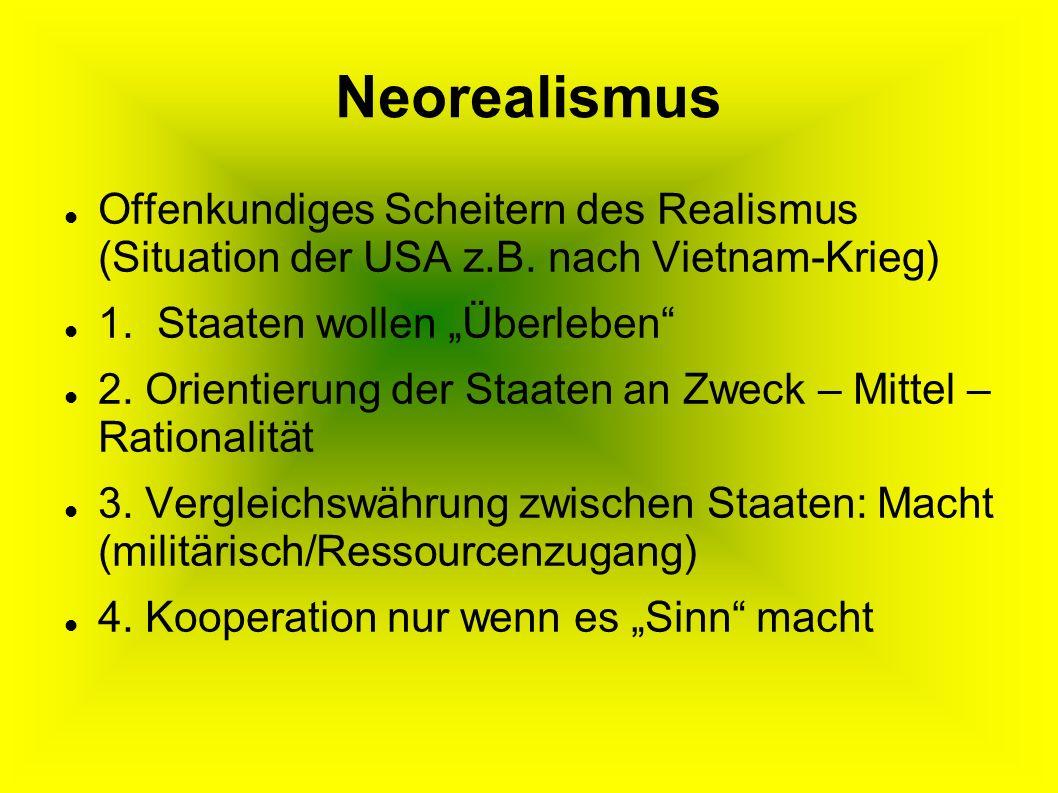 Neorealismus Offenkundiges Scheitern des Realismus (Situation der USA z.B.