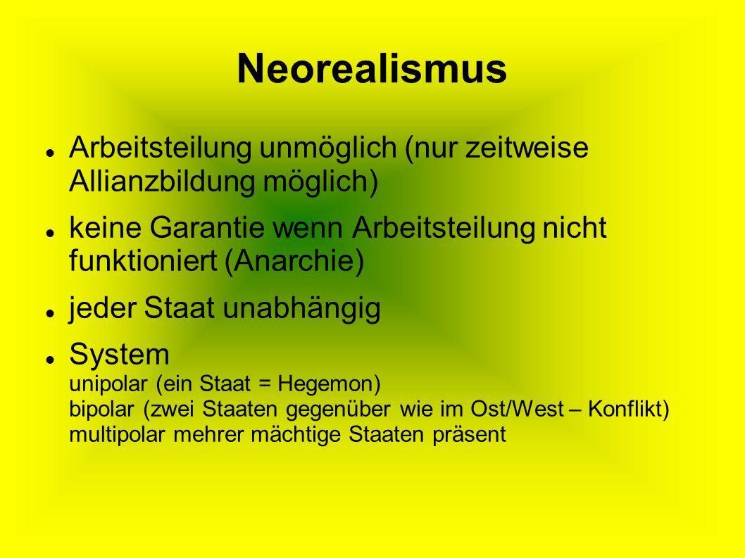 Neorealismus Arbeitsteilung unmöglich (nur zeitweise Allianzbildung möglich) keine Garantie wenn Arbeitsteilung nicht funktioniert (Anarchie) jeder Staat unabhängig System unipolar (ein Staat = Hegemon) bipolar (zwei Staaten gegenüber wie im Ost/West – Konflikt) multipolar mehrer mächtige Staaten präsent