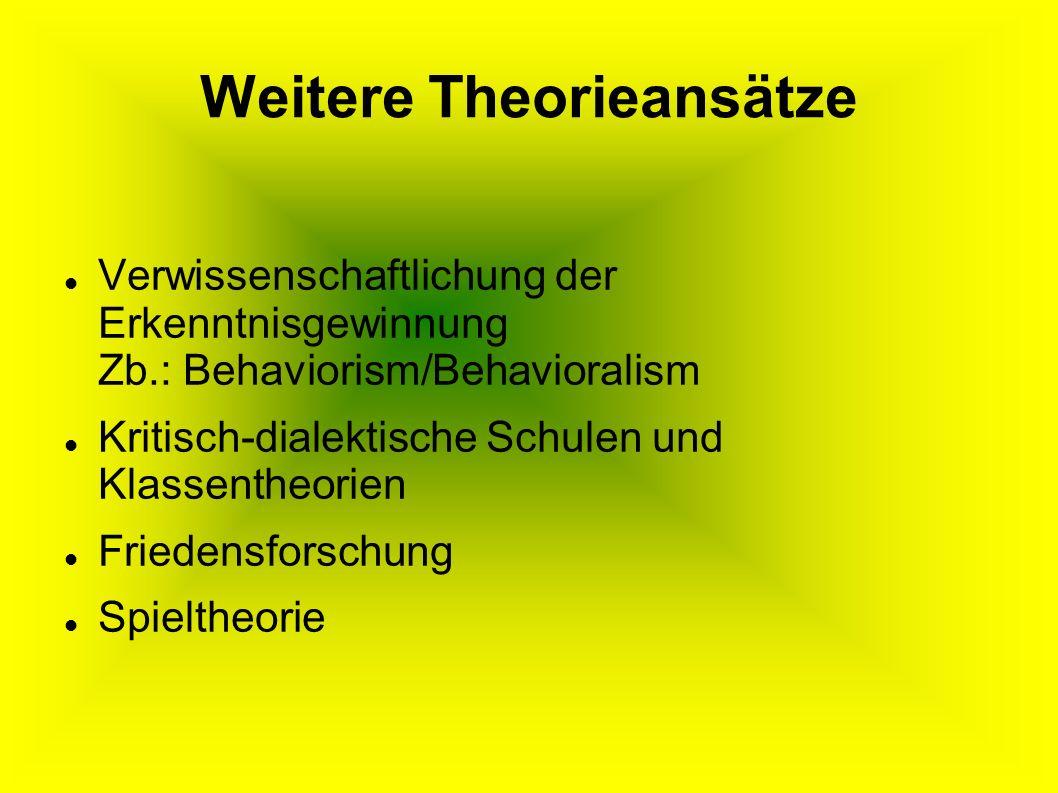 Weitere Theorieansätze Verwissenschaftlichung der Erkenntnisgewinnung Zb.: Behaviorism/Behavioralism Kritisch-dialektische Schulen und Klassentheorien Friedensforschung Spieltheorie