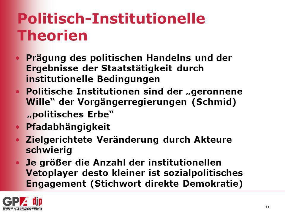 Politisch-Institutionelle Theorien Prägung des politischen Handelns und der Ergebnisse der Staatstätigkeit durch institutionelle Bedingungen Politisch