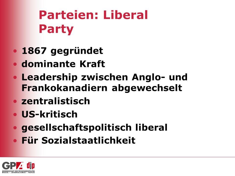 Parteien: Liberal Party 1867 gegründet dominante Kraft Leadership zwischen Anglo- und Frankokanadiern abgewechselt zentralistisch US-kritisch gesellsc