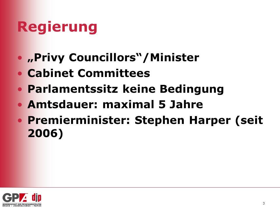 Regierung 3 Privy Councillors/Minister Cabinet Committees Parlamentssitz keine Bedingung Amtsdauer: maximal 5 Jahre Premierminister: Stephen Harper (s