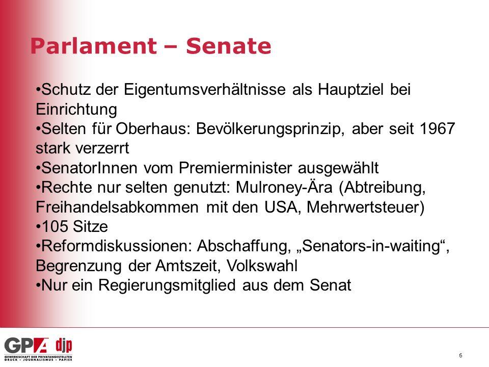 Parlament – Senate 6 Schutz der Eigentumsverhältnisse als Hauptziel bei Einrichtung Selten für Oberhaus: Bevölkerungsprinzip, aber seit 1967 stark ver