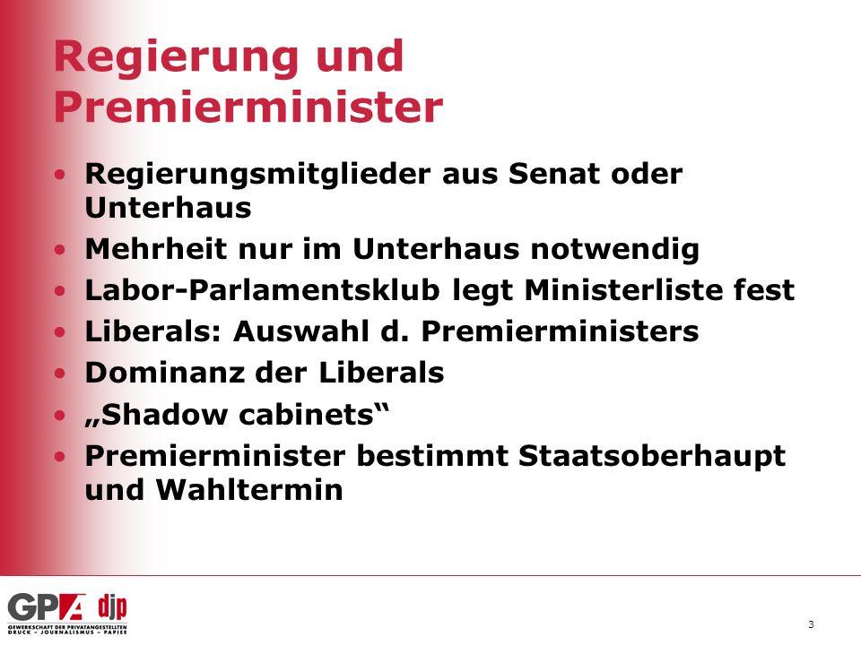 3 Regierungsmitglieder aus Senat oder Unterhaus Mehrheit nur im Unterhaus notwendig Labor-Parlamentsklub legt Ministerliste fest Liberals: Auswahl d.