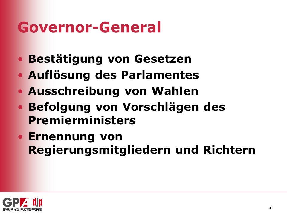Governor-General 4 Bestätigung von Gesetzen Auflösung des Parlamentes Ausschreibung von Wahlen Befolgung von Vorschlägen des Premierministers Ernennun