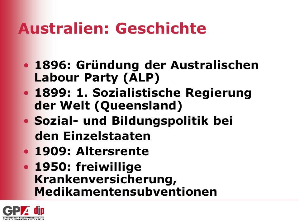Australien: Geschichte 1896: Gründung der Australischen Labour Party (ALP) 1899: 1. Sozialistische Regierung der Welt (Queensland) Sozial- und Bildung