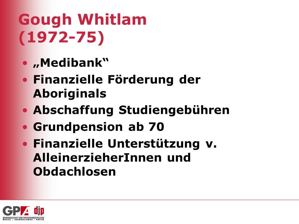 Gough Whitlam (1972-75) Medibank Finanzielle Förderung der Aboriginals Abschaffung Studiengebühren Grundpension ab 70 Finanzielle Unterstützung v. All