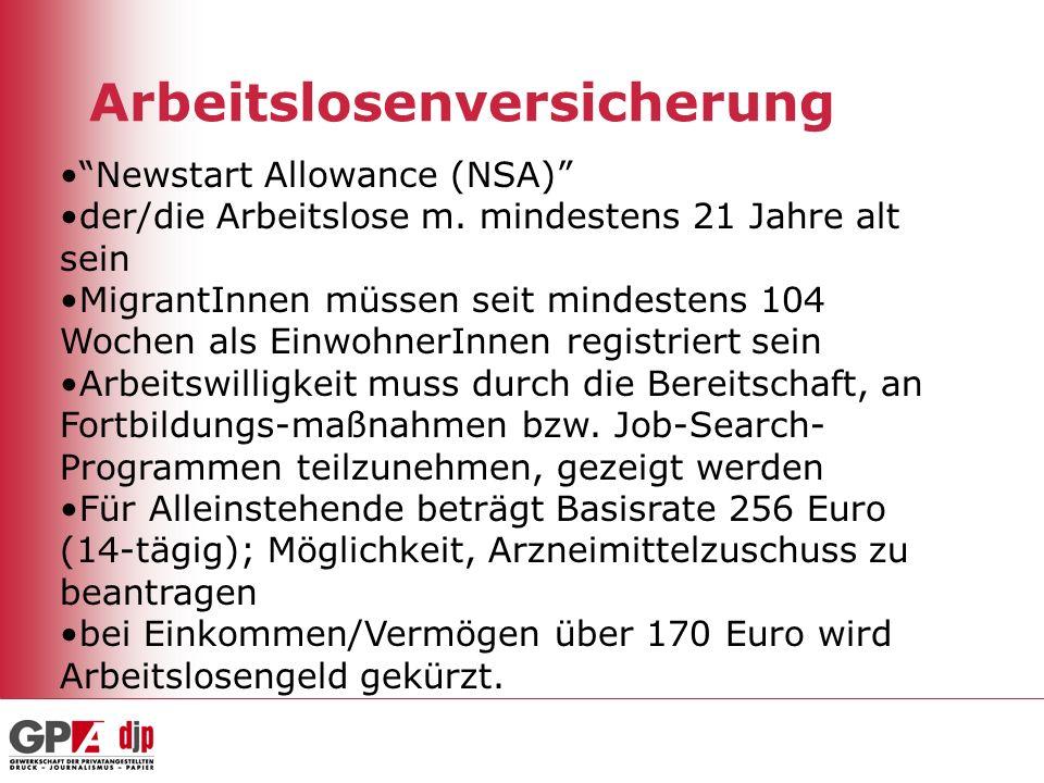 Arbeitslosenversicherung Newstart Allowance (NSA) der/die Arbeitslose m. mindestens 21 Jahre alt sein MigrantInnen müssen seit mindestens 104 Wochen a