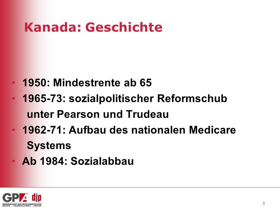 3 Kanada: Geschichte 1950: Mindestrente ab 65 1965-73: sozialpolitischer Reformschub unter Pearson und Trudeau 1962-71: Aufbau des nationalen Medicare