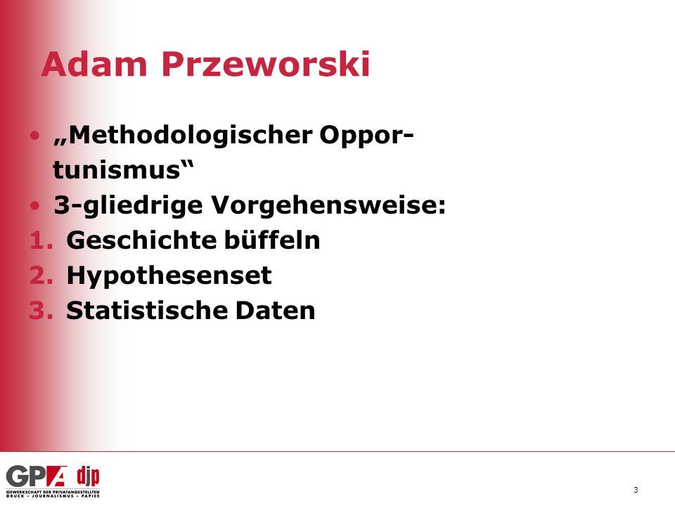 Adam Przeworski Methodologischer Oppor- tunismus 3-gliedrige Vorgehensweise: 1.Geschichte büffeln 2.Hypothesenset 3.Statistische Daten 3