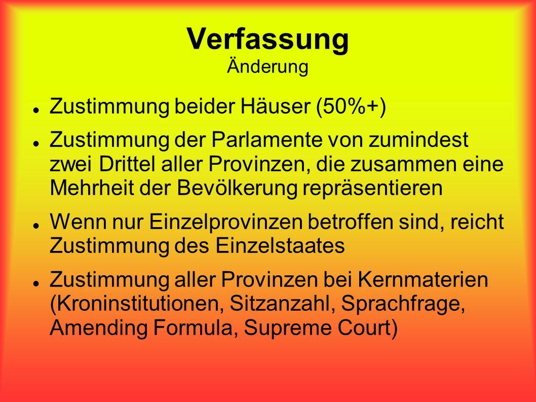 Verfassung Änderung Zustimmung beider Häuser (50%+) Zustimmung der Parlamente von zumindest zwei Drittel aller Provinzen, die zusammen eine Mehrheit d