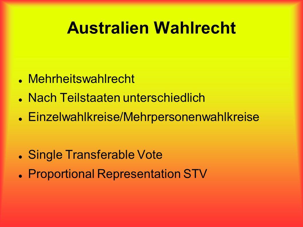 Australien Wahlrecht Mehrheitswahlrecht Nach Teilstaaten unterschiedlich Einzelwahlkreise/Mehrpersonenwahlkreise Single Transferable Vote Proportional