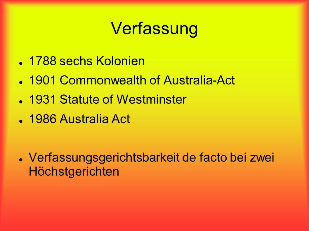 Verfassung 1788 sechs Kolonien 1901 Commonwealth of Australia-Act 1931 Statute of Westminster 1986 Australia Act Verfassungsgerichtsbarkeit de facto b
