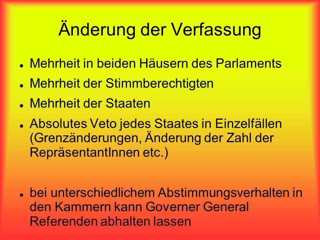 Änderung der Verfassung Mehrheit in beiden Häusern des Parlaments Mehrheit der Stimmberechtigten Mehrheit der Staaten Absolutes Veto jedes Staates in