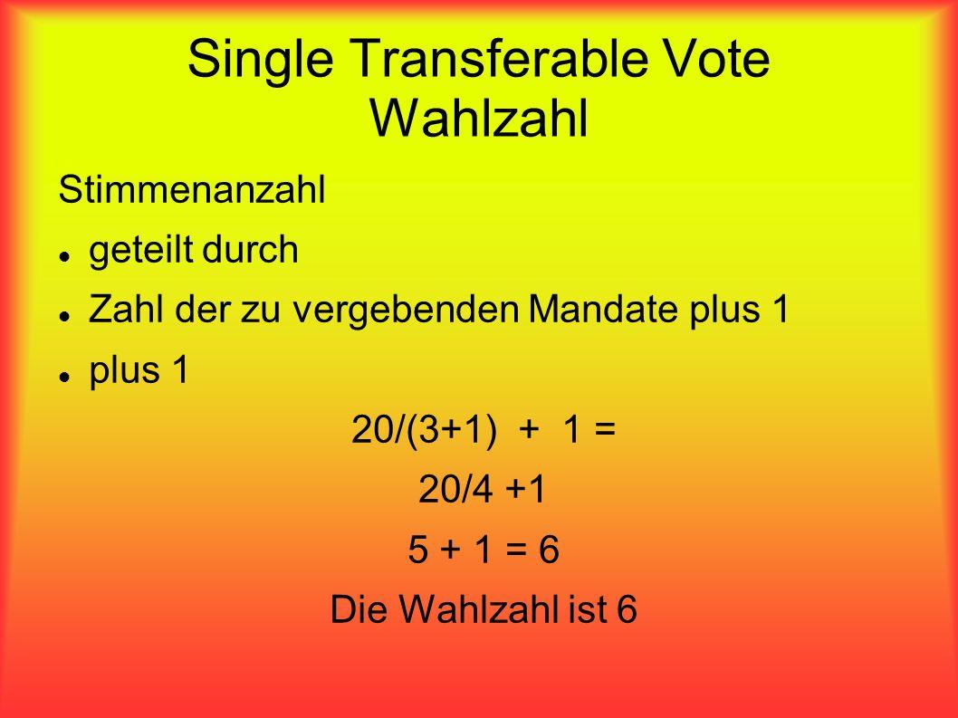 Single Transferable Vote Wahlzahl Stimmenanzahl geteilt durch Zahl der zu vergebenden Mandate plus 1 plus 1 20/(3+1) + 1 = 20/4 +1 5 + 1 = 6 Die Wahlz