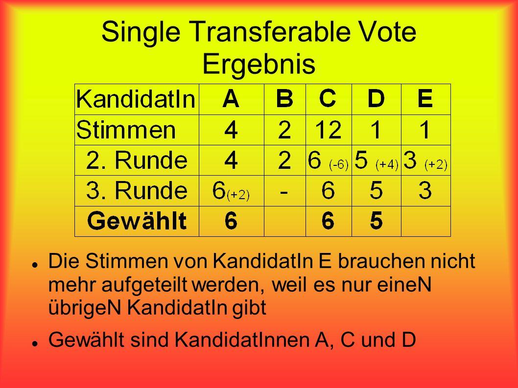 Single Transferable Vote Ergebnis Die Stimmen von KandidatIn E brauchen nicht mehr aufgeteilt werden, weil es nur eineN übrigeN KandidatIn gibt Gewähl