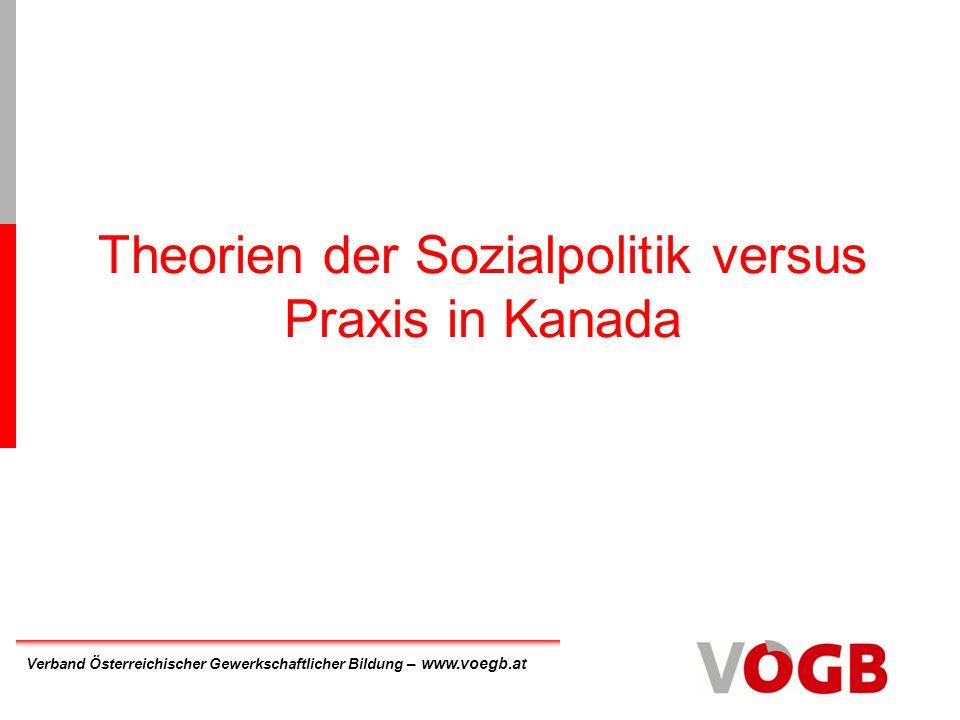 Verband Österreichischer Gewerkschaftlicher Bildung – www.voegb.at Theorien der Sozialpolitik versus Praxis in Kanada