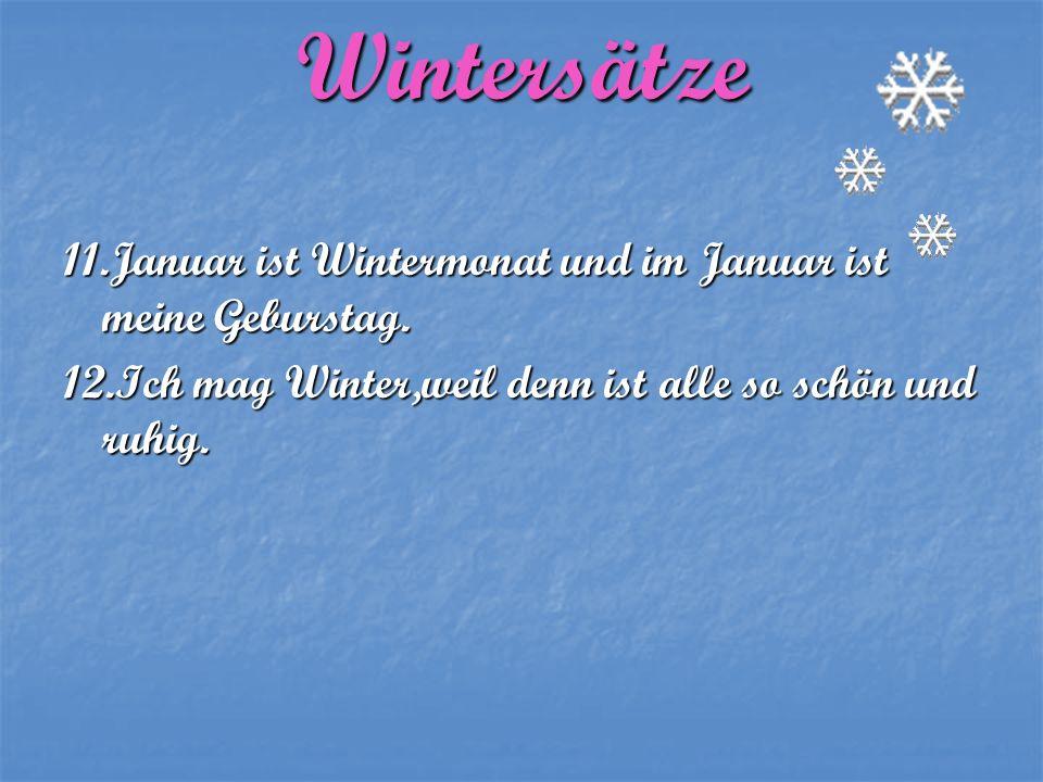 Wintersätze 11.Januar ist Wintermonat und im Januar ist meine Geburstag. 12.Ich mag Winter,weil denn ist alle so schön und ruhig.