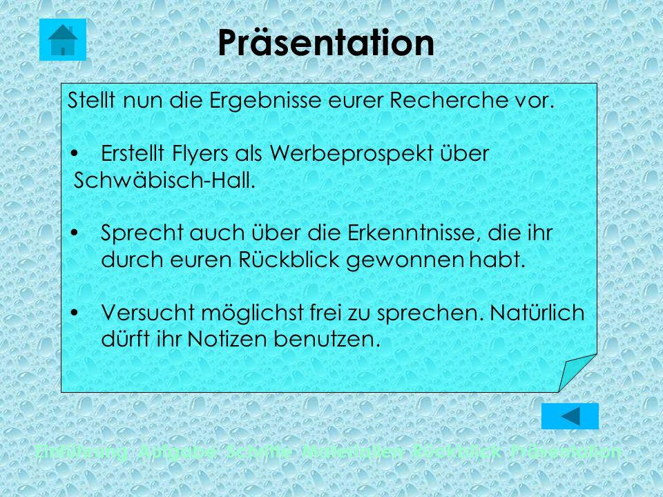 Präsentation Einführung Aufgabe Schritte Materialien Rückblick Präsentation Stellt nun die Ergebnisse eurer Recherche vor. Erstellt Flyers als Werbepr
