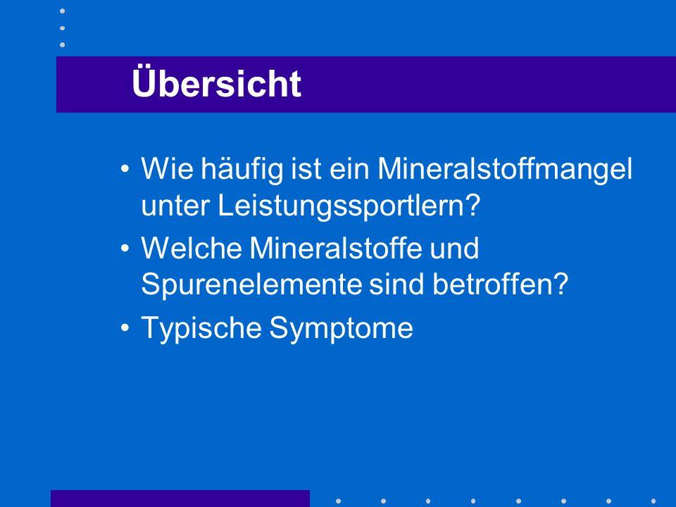 Wie häufig ist ein Mineralstoffmangel unter Leistungssportlern? Welche Mineralstoffe und Spurenelemente sind betroffen? Typische Symptome Übersicht