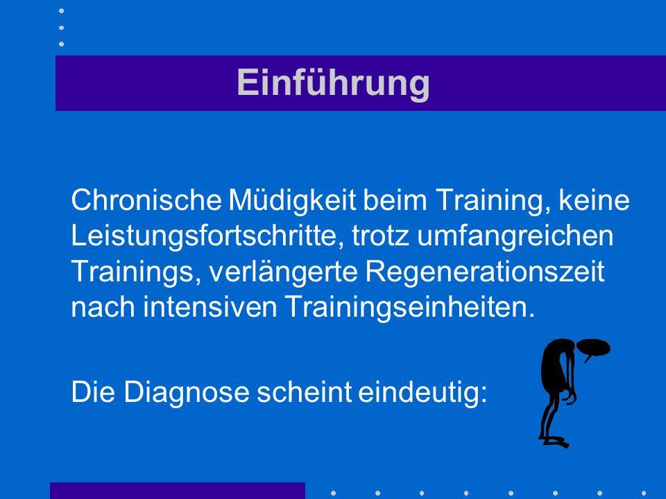 Einführung Chronische Müdigkeit beim Training, keine Leistungsfortschritte, trotz umfangreichen Trainings, verlängerte Regenerationszeit nach intensiv