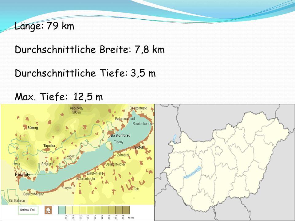 Länge: 79 km Durchschnittliche Breite: 7,8 km Durchschnittliche Tiefe: 3,5 m Max. Tiefe: 12,5 m