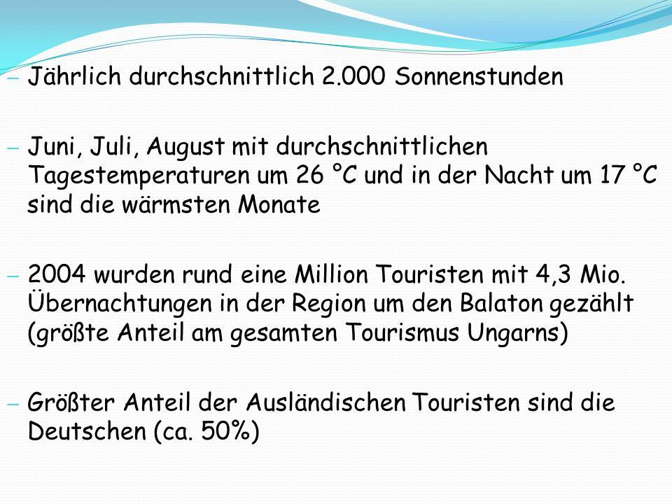 Jährlich durchschnittlich 2.000 Sonnenstunden Juni, Juli, August mit durchschnittlichen Tagestemperaturen um 26 °C und in der Nacht um 17 °C sind die wärmsten Monate 2004 wurden rund eine Million Touristen mit 4,3 Mio.