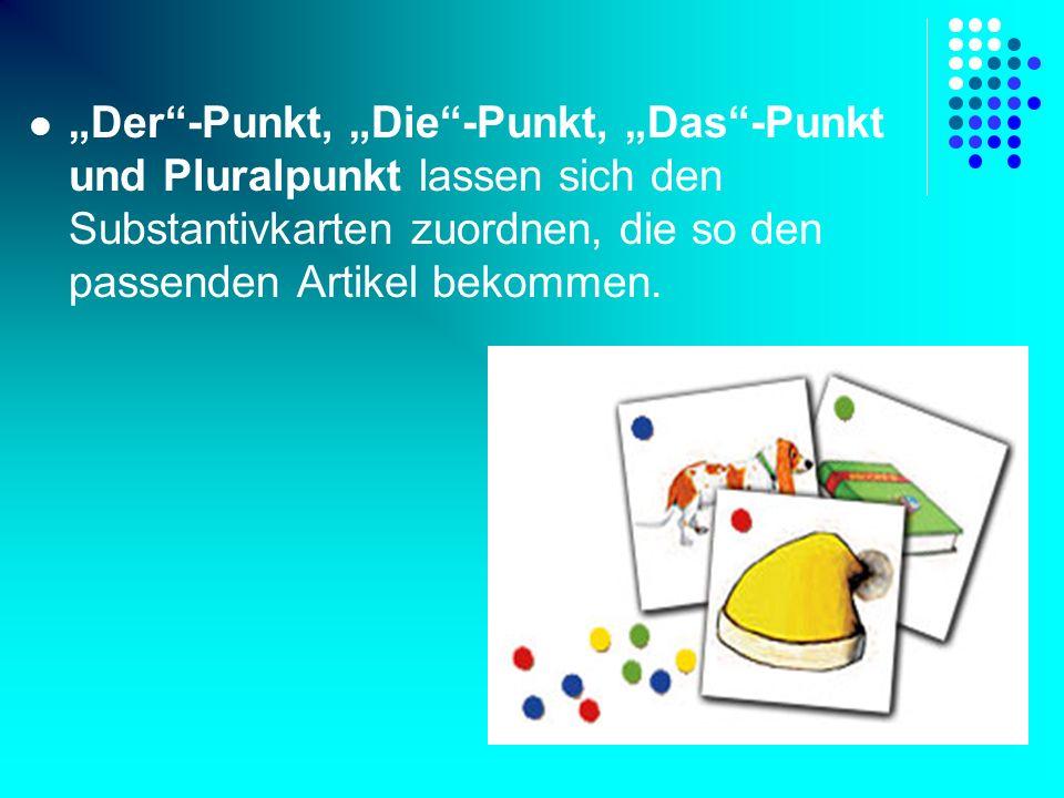 Der-Punkt, Die-Punkt, Das-Punkt und Pluralpunkt lassen sich den Substantivkarten zuordnen, die so den passenden Artikel bekommen.