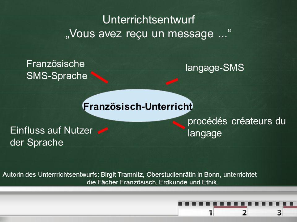 Französisch-Unterricht Unterrichtsentwurf Vous avez reçu un message... Französische SMS-Sprache langage-SMS procédés créateurs du langage Einfluss auf