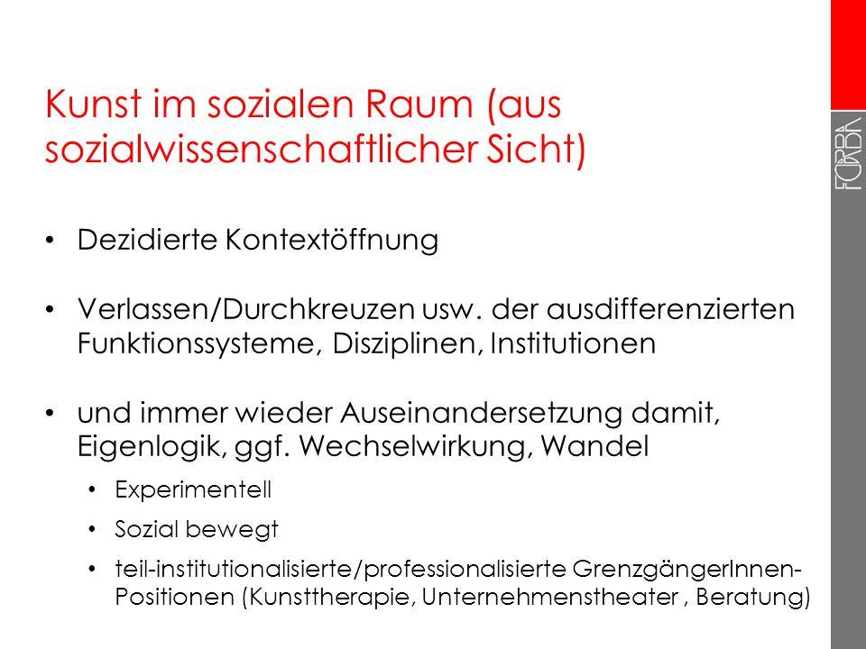 Der Anspruch auf gesellschaftliche Wirksamkeit Kunst im sozialen Raum: Gestalten in der Welt (Beuys), dual commitment (Zobl/Schneider) von, für, über,