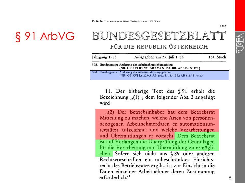 8 § 91 ArbVG