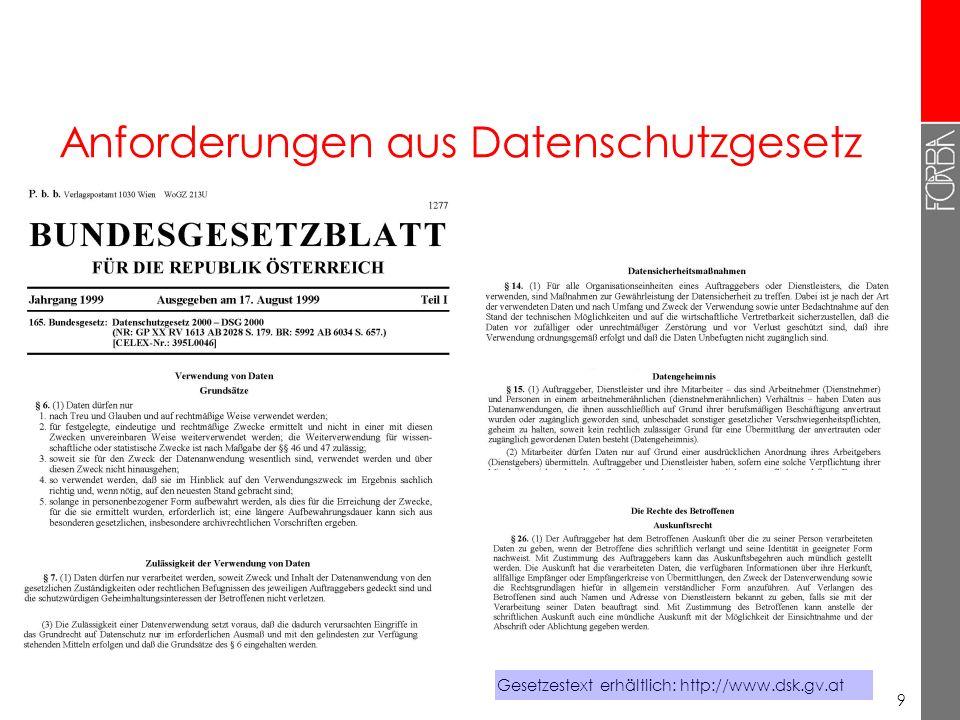 9 Anforderungen aus Datenschutzgesetz Gesetzestext erhältlich: http://www.dsk.gv.at