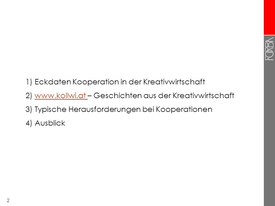 22 1) Eckdaten Kooperation in der Kreativwirtschaft 2) www.kollwi.at – Geschichten aus der Kreativwirtschaftwww.kollwi.at 3) Typische Herausforderungen bei Kooperationen 4) Ausblicke