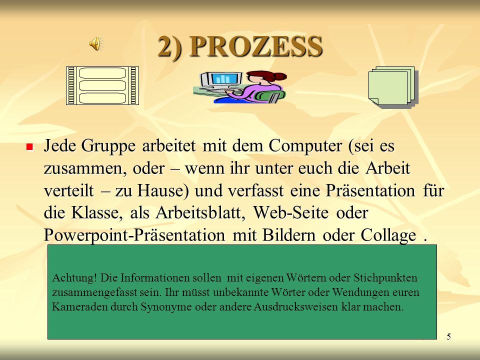 5 2) PROZESS Jede Gruppe arbeitet mit dem Computer (sei es zusammen, oder – wenn ihr unter euch die Arbeit verteilt – zu Hause) und verfasst eine Präs