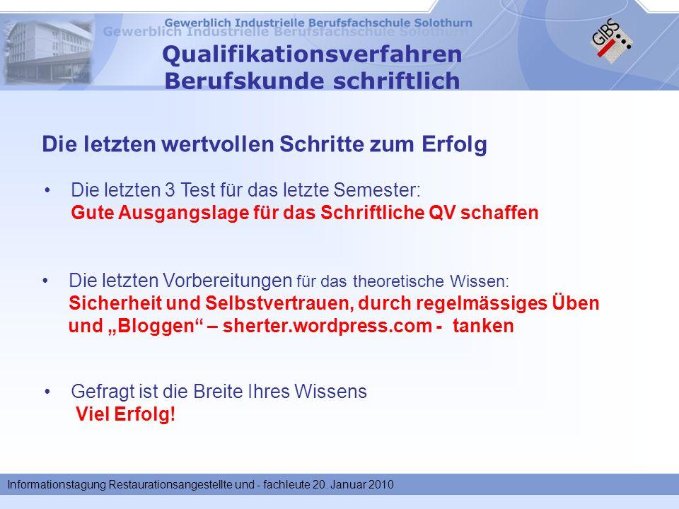 Informationstagung Restaurationsangestellte und - fachleute 20.