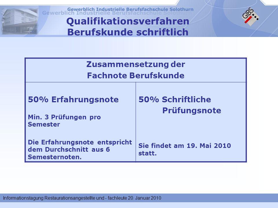 Informationstagung Restaurationsangestellte und - fachleute 20. Januar 2010 Qualifikationsverfahren Berufskunde schriftlich Zusammensetzung der Fachno
