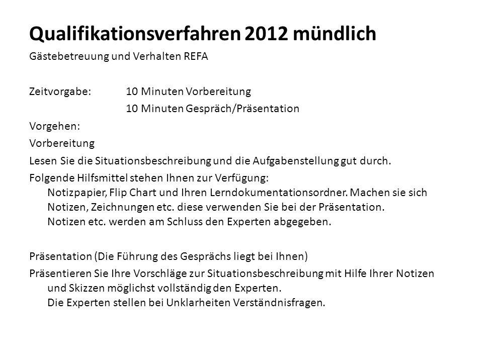 Qualifikationsverfahren 2012 mündlich Gästebetreuung und Verhalten REFA Zeitvorgabe:10 Minuten Vorbereitung 10 Minuten Gespräch/Präsentation Vorgehen: