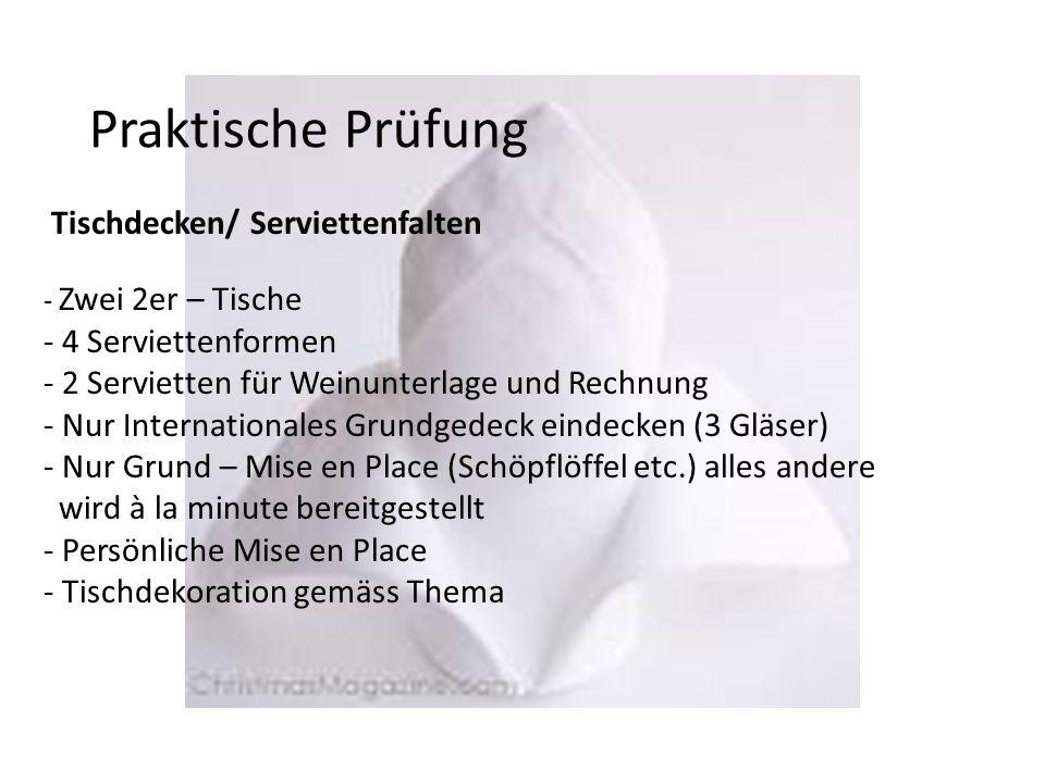 Praktische Prüfung Tischdecken/ Serviettenfalten - Zwei 2er – Tische - 4 Serviettenformen - 2 Servietten für Weinunterlage und Rechnung - Nur Internat