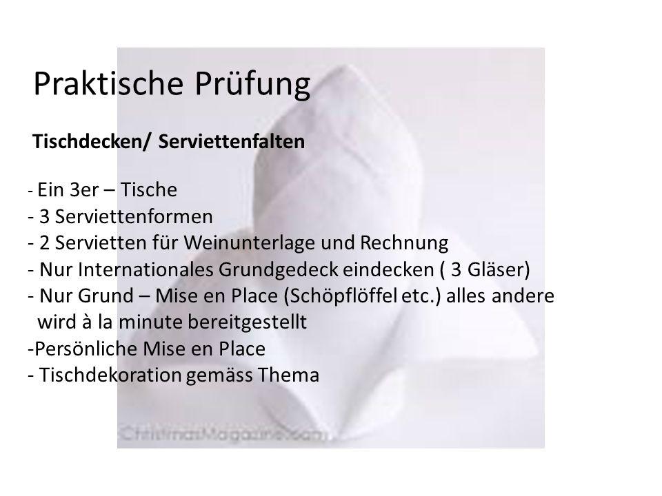 Praktische Prüfung Tischdecken/ Serviettenfalten - Ein 3er – Tische - 3 Serviettenformen - 2 Servietten für Weinunterlage und Rechnung - Nur Internati