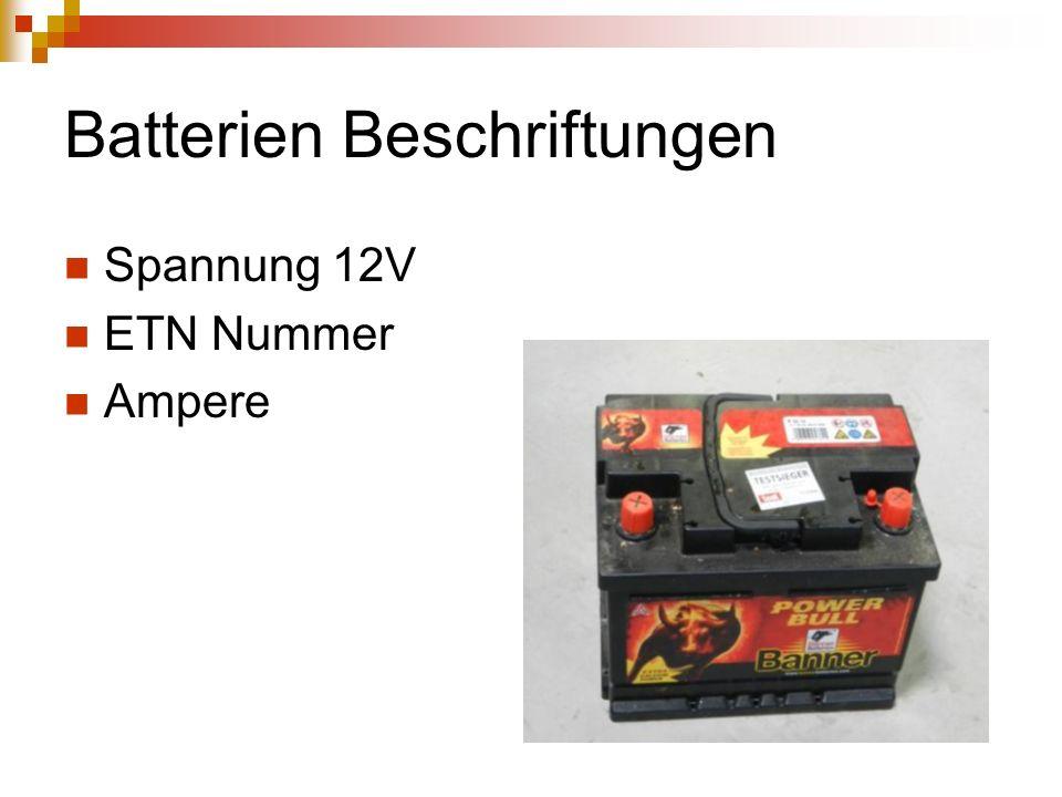 Batterien Beschriftungen Spannung 12V ETN Nummer Ampere