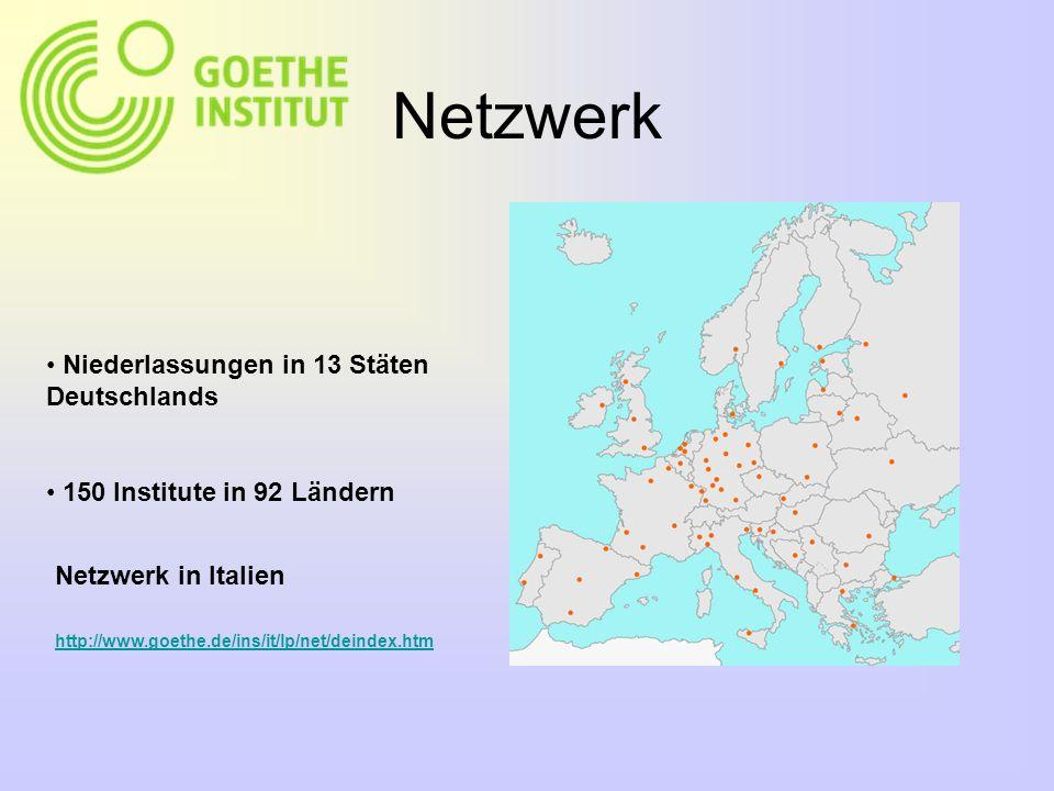 Netzwerk Niederlassungen in 13 Stäten Deutschlands 150 Institute in 92 Ländern http://www.goethe.de/ins/it/lp/net/deindex.htm Netzwerk in Italien