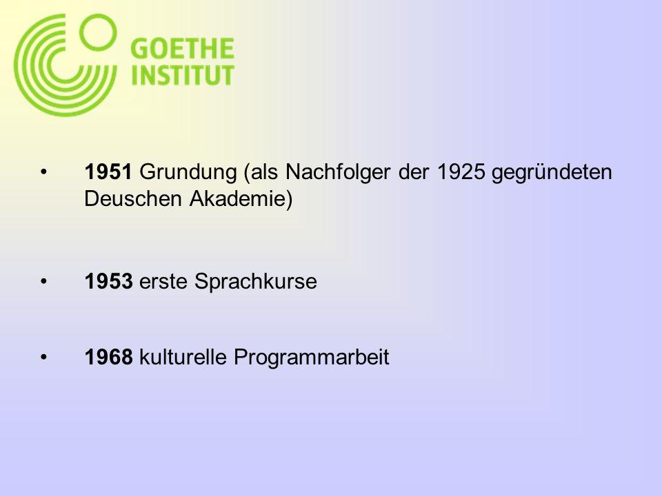 1951 Grundung (als Nachfolger der 1925 gegründeten Deuschen Akademie) 1953 erste Sprachkurse 1968 kulturelle Programmarbeit