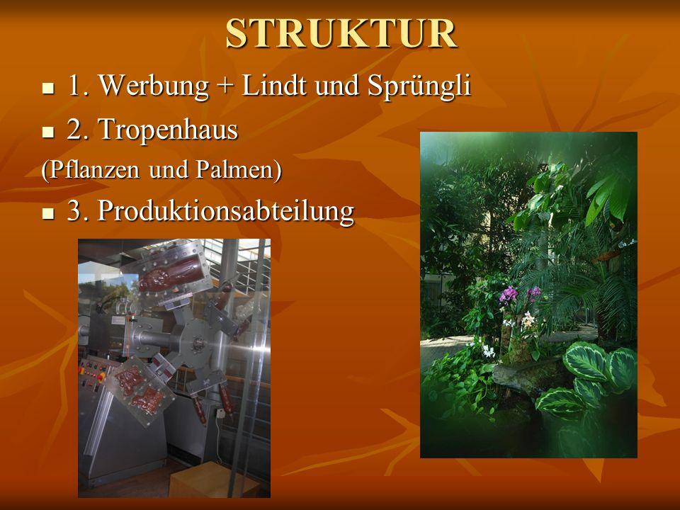 STRUKTUR 1. Werbung + Lindt und Sprüngli 1. Werbung + Lindt und Sprüngli 2. Tropenhaus 2. Tropenhaus (Pflanzen und Palmen) 3. Produktionsabteilung 3.