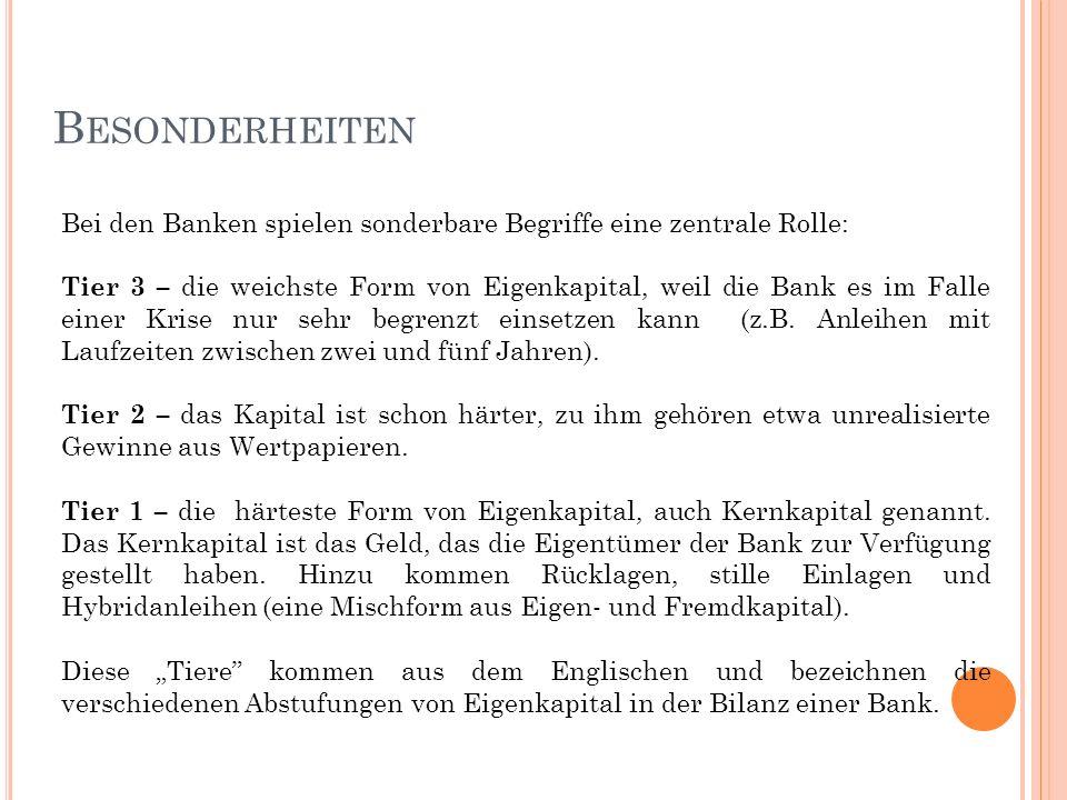 B ESONDERHEITEN Bei den Banken spielen sonderbare Begriffe eine zentrale Rolle: Tier 3 – die weichste Form von Eigenkapital, weil die Bank es im Falle