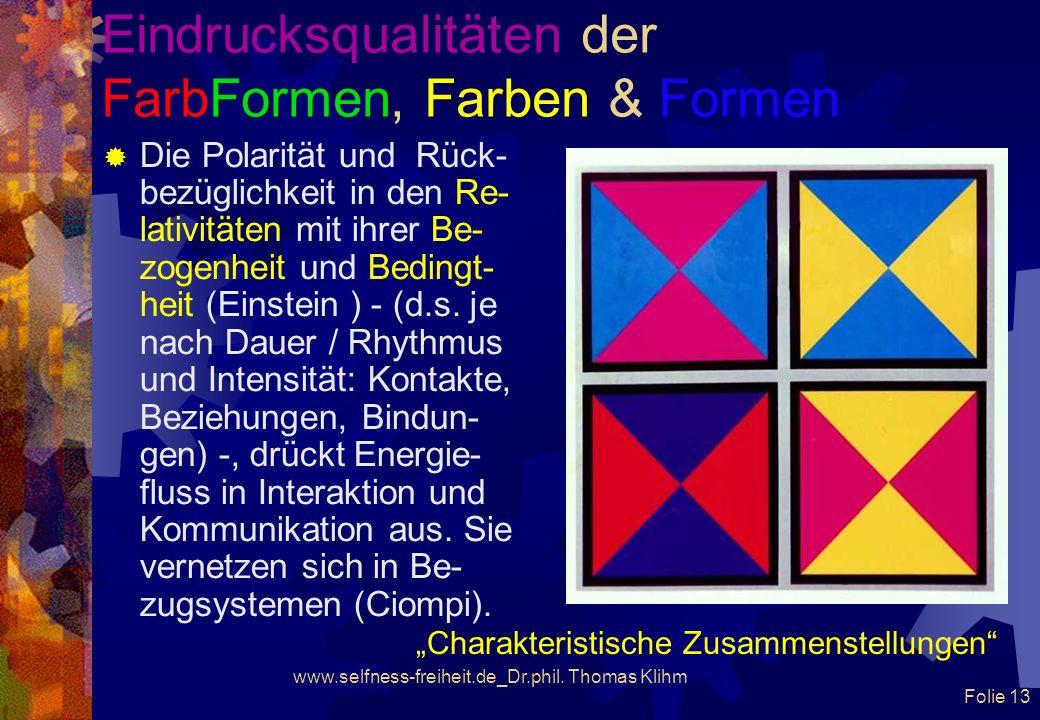 www.selfness-freiheit.de_Dr.phil. Thomas Klihm Folie 12 Eindrucksqualitäten der FarbFormen, Farben & Formen Ist Farbe ein Phänomen von Aussen oder von
