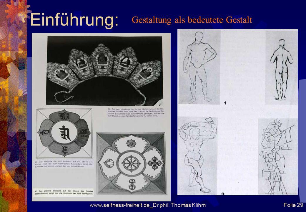 www.selfness-freiheit.de_Dr.phil. Thomas Klihm Folie 28 Einführung: Das Instrumentarium des Ausdruckes und die Beschaf- fenheit des Ausdruckmediums wi