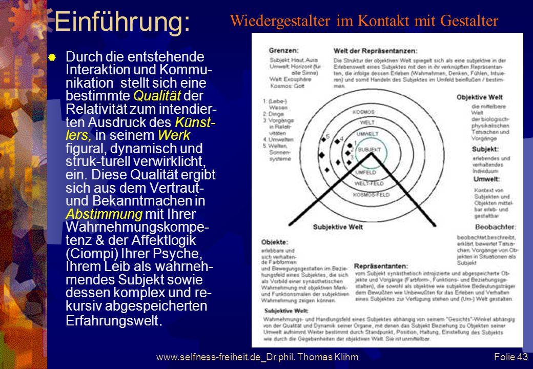 www.selfness-freiheit.de_Dr.phil. Thomas Klihm Folie 42 Einführung: Die Reizsituation, in der sich Gestaltung und Wieder-Gestalter befinden, bildet di