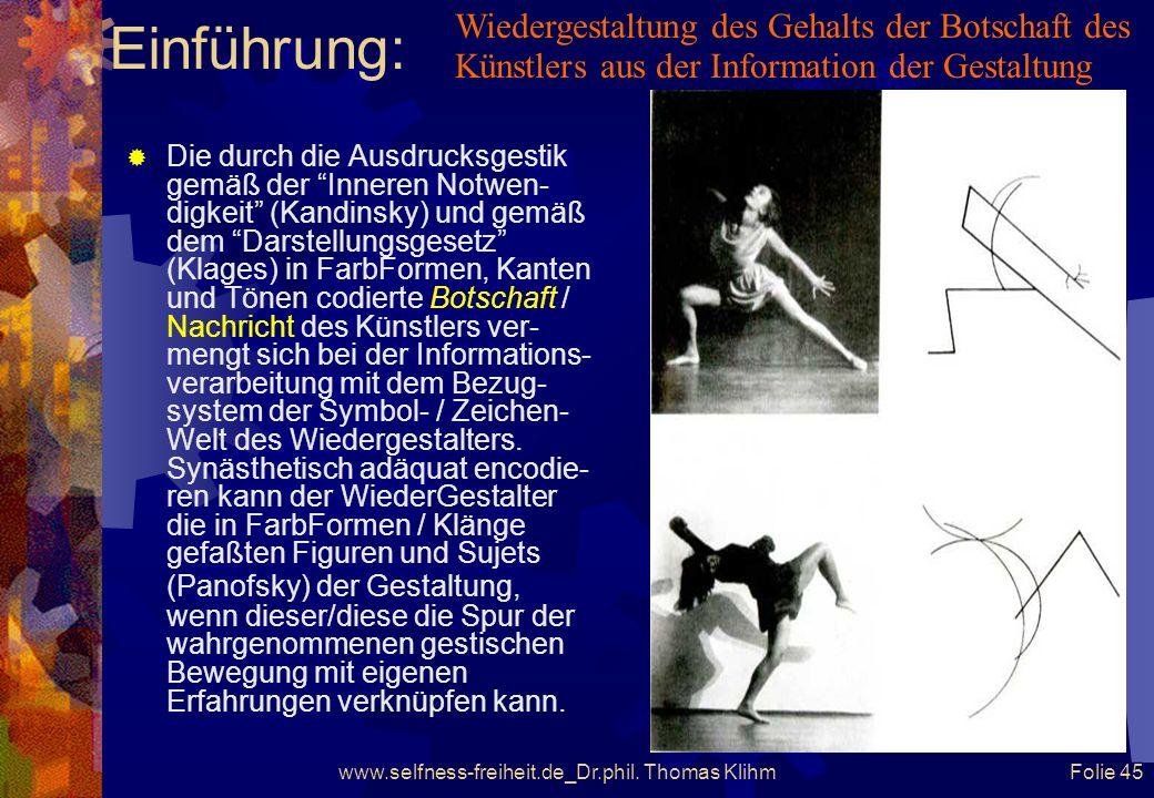 www.selfness-freiheit.de_Dr.phil. Thomas Klihm Folie 44 Einführung: Grafik: Franz Ruppert, München Wiedergestalter im Kontakt mit Gestalter Der lebend