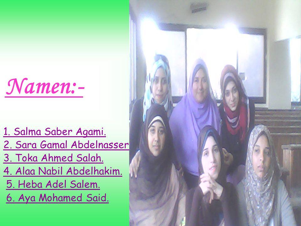 Namen:- 1. Salma Saber Agami. 2. Sara Gamal Abdelnasser. 3. Toka Ahmed Salah. 4. Alaa Nabil Abdelhakim. 5. Heba Adel Salem. 6. Aya Mohamed Said.