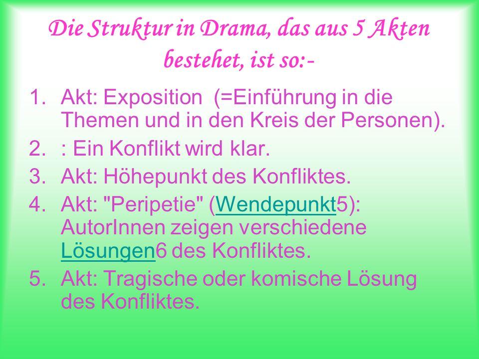 Die Struktur in Drama, das aus 5 Akten bestehet, ist so:- 1.Akt: Exposition (=Einführung in die Themen und in den Kreis der Personen). 2.: Ein Konflik